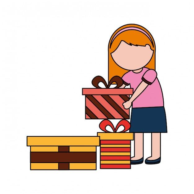 Dziewczyna z wielu prezentów urodzinowych Premium Wektorów