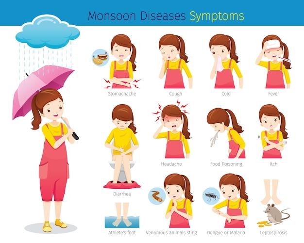 Dziewczyna Z Zestawem Objawów Chorób Monsunowych Premium Wektorów