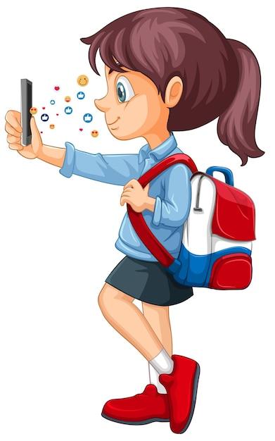 Dziewczyna Za Pomocą Inteligentnego Telefonu Z Motywem Ikony Mediów Społecznościowych Na Białym Tle Darmowych Wektorów