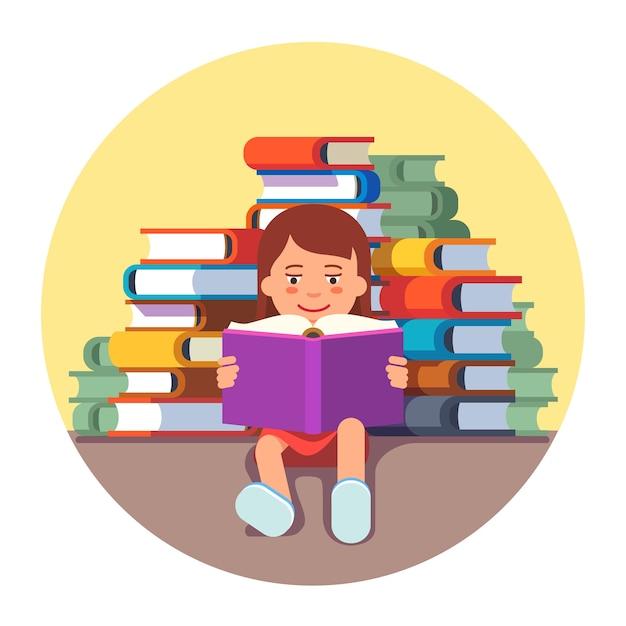 Dziewczynka cute siedzi i czyta książkę Darmowych Wektorów