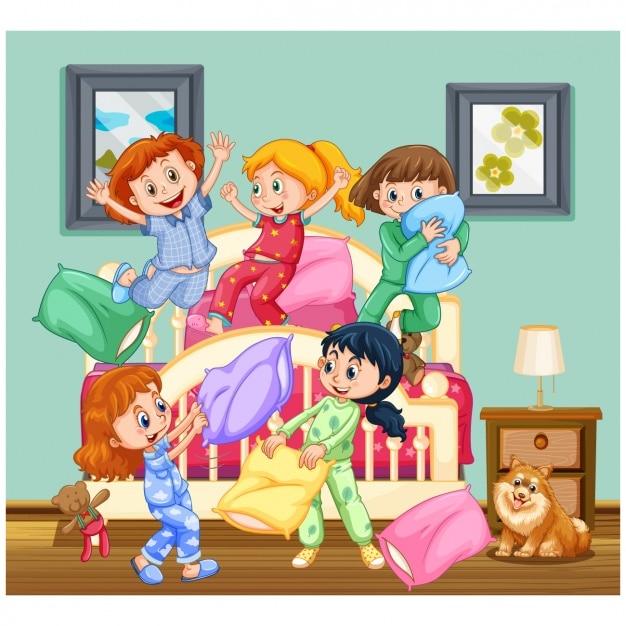 Dziewczynki Bawiące Się W Domu Premium Wektorów