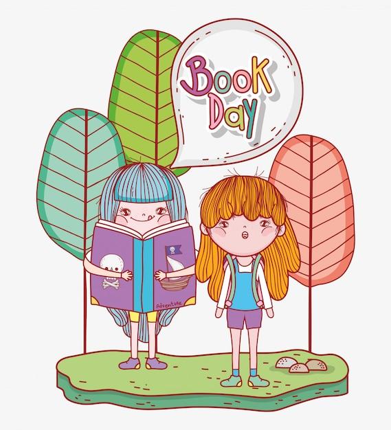Dziewczyny czytają książki o literaturze z drzewami Premium Wektorów