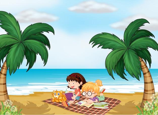 Dziewczyny czytające w pobliżu plaży Darmowych Wektorów