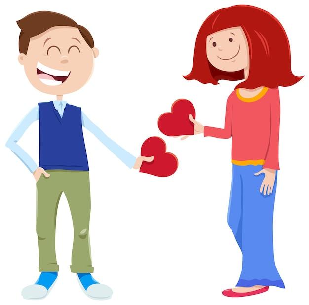 Dziewczyny I Chłopca W Miłości Premium Wektorów