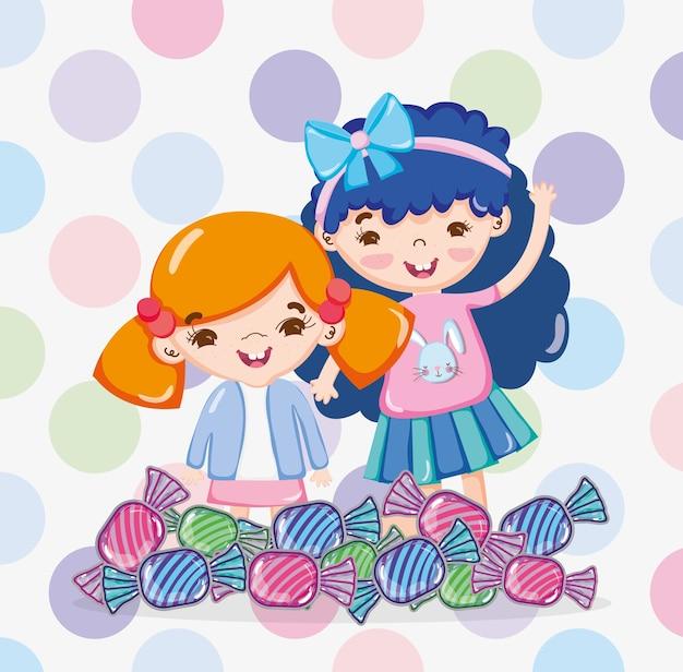 Dziewczyny I Słodycze Premium Wektorów
