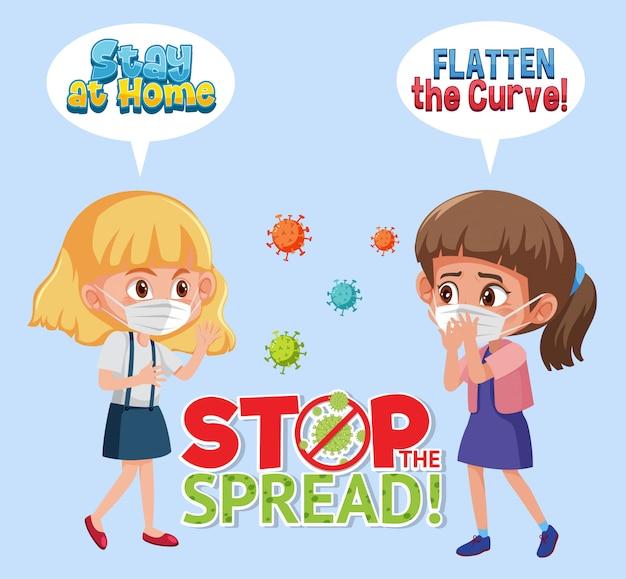 Dziewczyny Noszące Z Przestać Rozprzestrzeniać Znak Wirusa Premium Wektorów