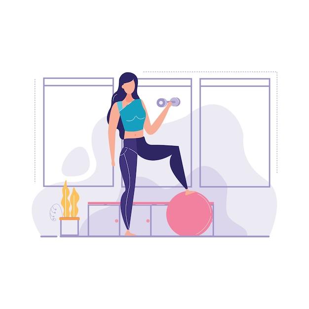 Dziewczyny są zaangażowane ilustracji wektorowych siłowni Premium Wektorów