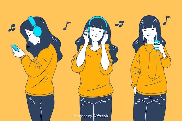 Dziewczyny słuchają muzyki w koreańskim stylu rysowania Darmowych Wektorów