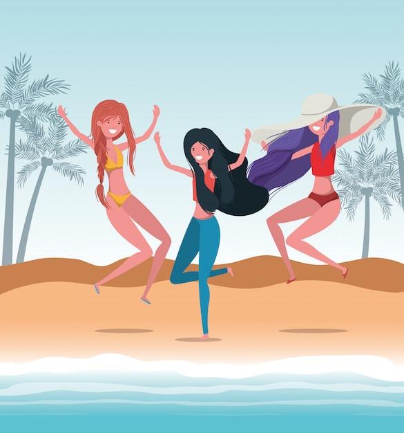Dziewczyny W Letnich Strojach Kąpielowych Premium Wektorów