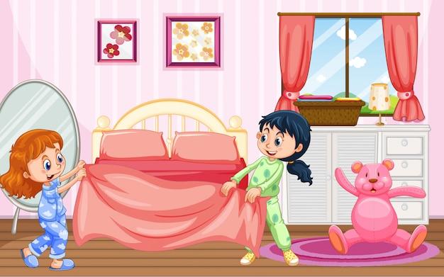 Dziewczyny W Piżamie Robią łóżko Premium Wektorów