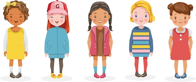Dziewczyny Wektor Zestaw Dzieci. Kreskówka Różnych I Różnych Grup Etnicznych. Premium Wektorów