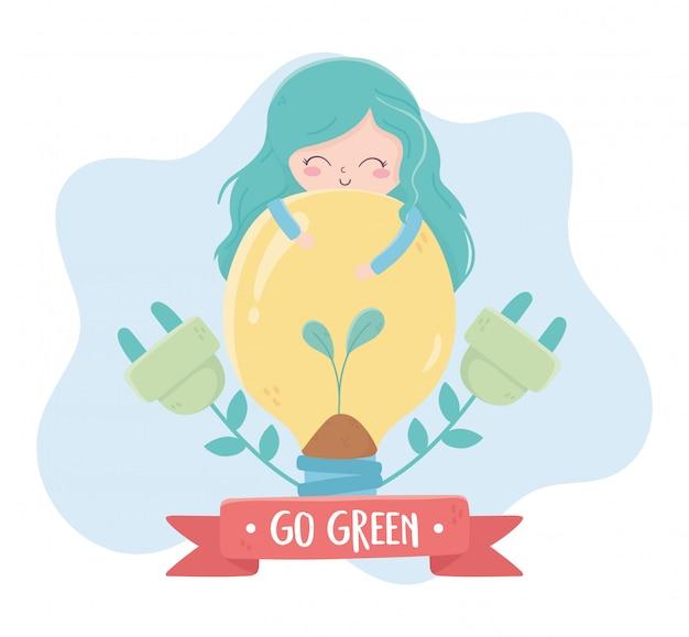 Dziewczyny żarówka Czopuje Rośliny środowiska Ekologię Premium Wektorów