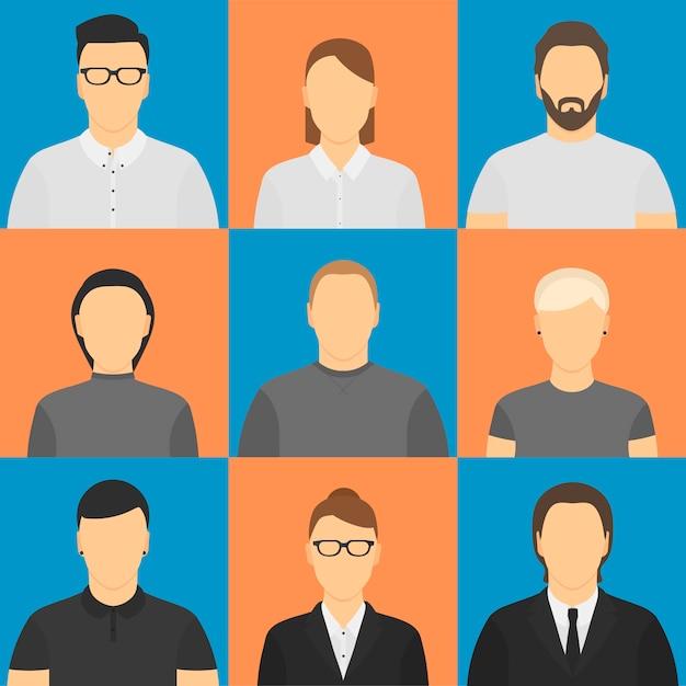 Dziewięć ludzkich awatarów. Premium Wektorów