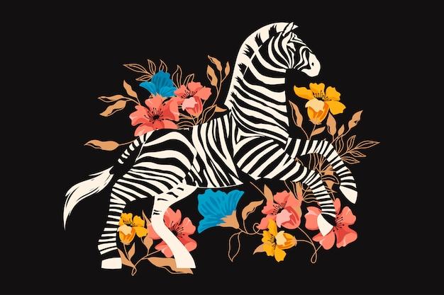 Dzika Zebra Z Egzotycznymi Tropikalnymi Kwiatami I Liśćmi. Premium Wektorów
