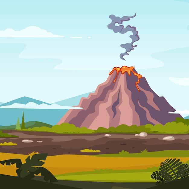 Dziki krajobraz z wulkanem i lawą. natura krajobrazu wybuchu wulkanu Premium Wektorów