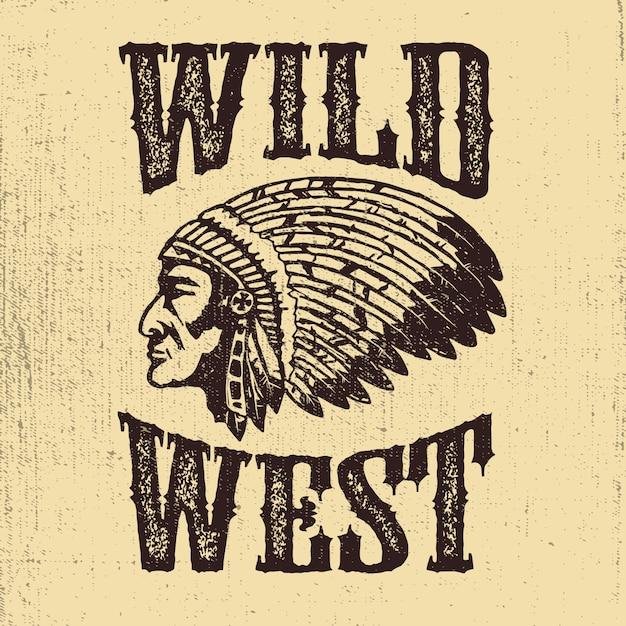 Dziki Zachód. Rodowity Amerykanin Szefa Głowy Ilustracja. Elementy Logo, Etykiety, Godło, Znak. Ilustracja Premium Wektorów