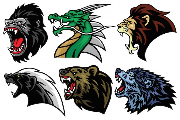 Dzikie Zwierzęta Głowy Zestaw Esport Maskotka Logo Projekt Ikona Ilustracja Awatara Premium Wektorów