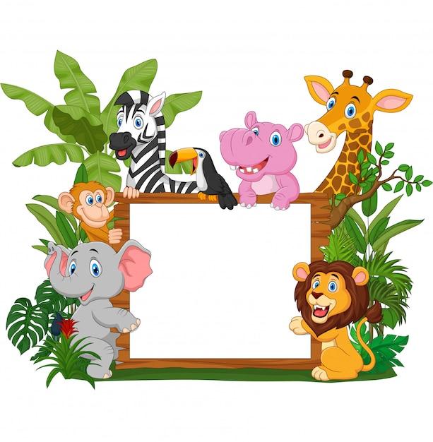 Dzikie Zwierzęta Kreskówki Gospodarstwa Deska Premium Wektorów