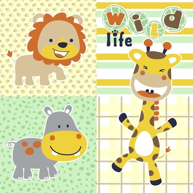 Dzikie życie Z Kreskówki śmieszne Zwierzęta Premium Wektorów