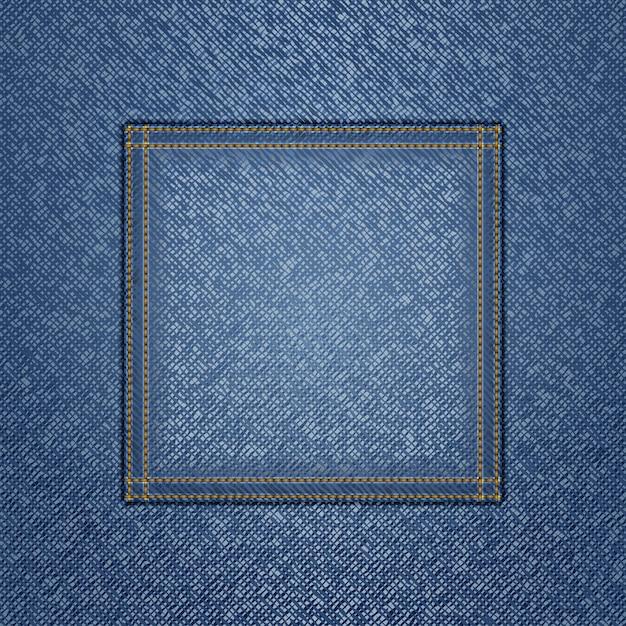 Dżinsowa Tekstura Z Kwadratową Kieszenią Premium Wektorów