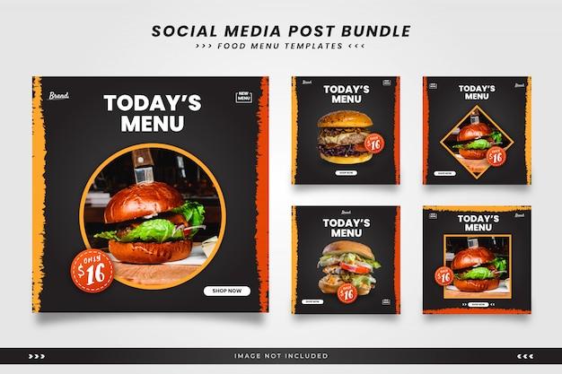 Dzisiejsze Menu żywności Szablony Postów W Mediach Społecznościowych Premium Wektorów