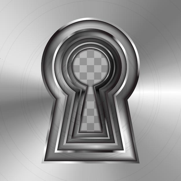 Dziurki Od Klucza W Jasnym Błyszczącym Metalowym Talerzu Na Przezroczystym Tle Premium Wektorów