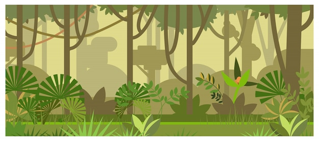 Dżungla krajobraz z drzewami i roślinami ilustracyjnymi Darmowych Wektorów