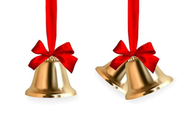 Dzwonek Dzwoni. Zimowy Złoty Dzwonek Z Czerwoną Kokardką. Element Dekoracji świątecznej. Premium Wektorów