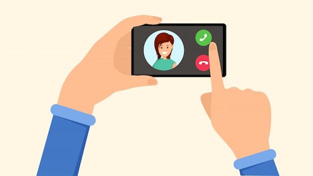 Dzwoniący Smartfon, Interfejs Przychodzącego Połączenia Premium Wektorów