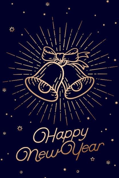 Dzwony świąteczne. Szczęśliwego Nowego Roku. Kartkę Z życzeniami Z Tekstem Szczęśliwego Nowego Roku. Premium Wektorów