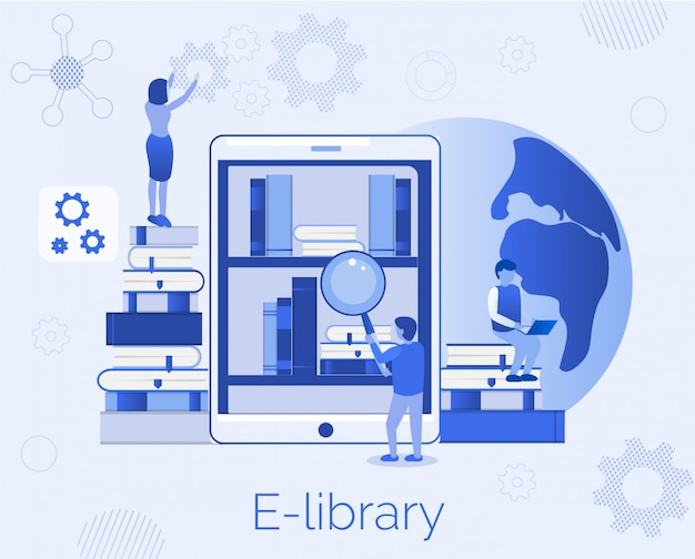E-biblioteka Edukacja Landing Page Flat Template Premium Wektorów