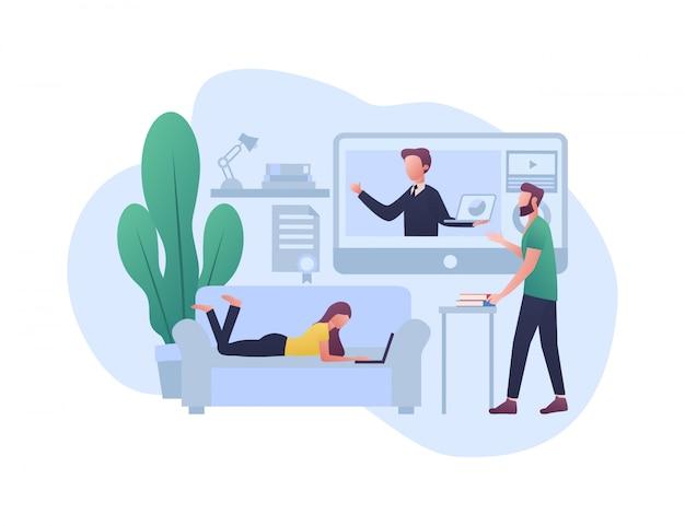 E - Ilustracja Koncepcja Uczenia Się Premium Wektorów