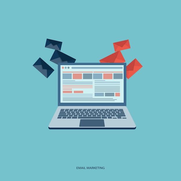 E koncepcja mail marketing Darmowych Wektorów