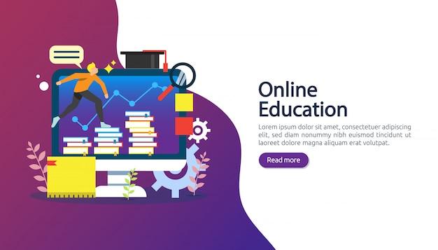 E-learning, e-book lub koncepcja edukacji online dla banerów Premium Wektorów