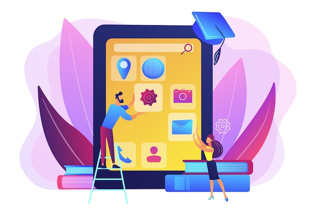 E-learning. Proces Edukacji. Aplikacja Szkoleniowa. Kursy Tworzenia Aplikacji Mobilnych, Kursy Online Aplikacji Mobilnych Stały Się Koncepcją Programistów Mobilnych. Darmowych Wektorów