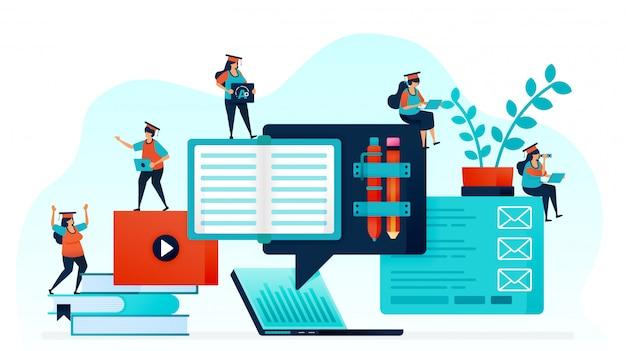 E-learning ułatwia uczniom naukę. Premium Wektorów
