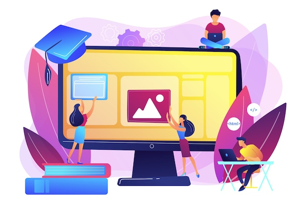 E-learning, Zajęcia Online I Webinaria. Zdalne Studiowanie Informatyki. Kursy Tworzenia Stron Internetowych, Programowanie Tworzenia Stron Internetowych, Koncepcja Najlepszych Kursów Kodowania Online. Darmowych Wektorów