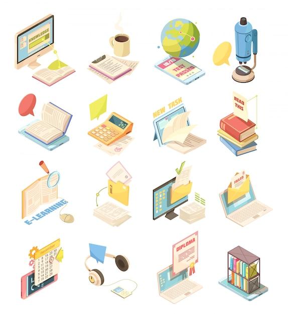 E-learningowy zestaw ikon izometrycznych Darmowych Wektorów