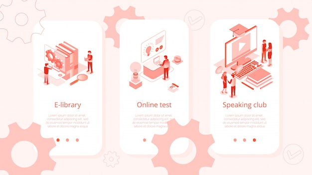 E-library Online Test Speaking Club Isometric Set Premium Wektorów