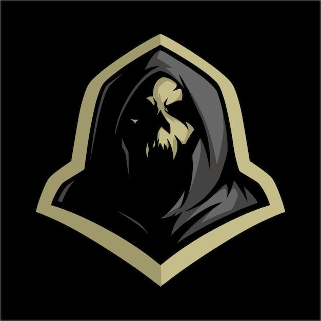 E Logo Czaszki Sportowej W Szarym Kapturze Premium Wektorów