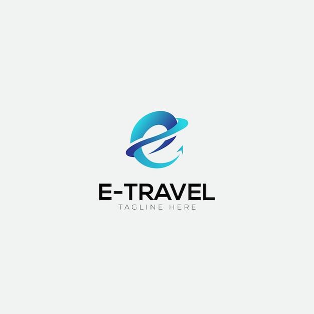 E logo podróży z początkiem e Premium Wektorów