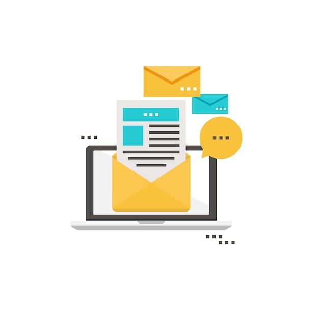 E-mail wiadomości, abonament, promocja płaski ilustracji wektorowych projektu. ikona biuletynu płaska Premium Wektorów