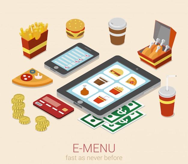 E Menu Menu Urządzenia Przenośnego Elektroniczny Menu Na Telefon Pastylki Posiłku Online Rozkazu Isometric Pojęciu Darmowych Wektorów