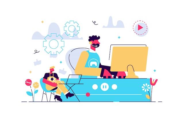 E-sport Gracz Na żywo, Strumieniowa Transmisja Wideo Online, Gra I Przeglądarka Za Pomocą Laptopa. Transmisja Strumieniowa E-sport, Teleturniej Na żywo, Koncepcja Biznesowa Transmisji Strumieniowej Online. Jasny żywy Fiolet Na Białym Tle Ilustracja Premium Wektorów