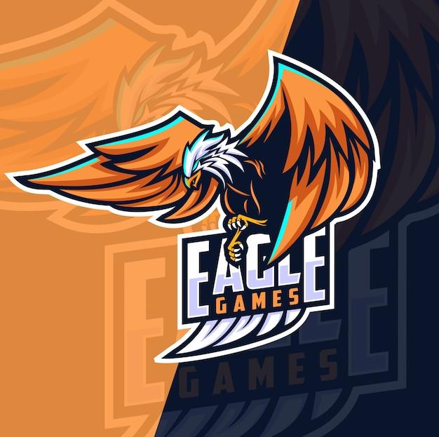 Eagle Games Maskotka E-logo Projektowanie Logo Premium Wektorów