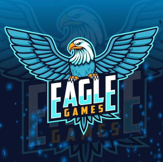 Eagle maskotka logo e-sportu Premium Wektorów