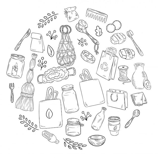 Eco Friendly Zestaw Doodles W Okręgu. Ekologiczna I Bezodpadowa Zbiórka Przedmiotów. Zzielenieć Premium Wektorów
