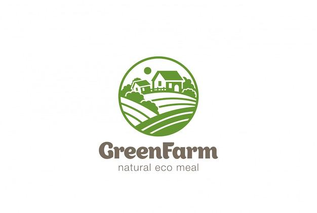 Eco Green Farm Circle Logo Wektor Vintage Ikona. Darmowych Wektorów