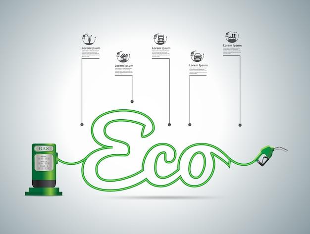 Eco Paliwa Pojęcie, Ilustracyjny Nowożytnego Projekta Szablon Premium Wektorów