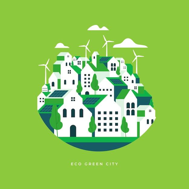 Eco płaski krajobraz miasta. Premium Wektorów